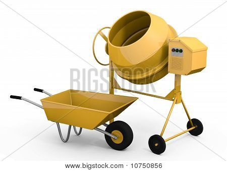 Concrete mixer and wheelbarrow