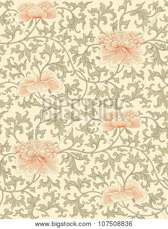 Chinese seamless pattern.  Vector.  Background . Vintage