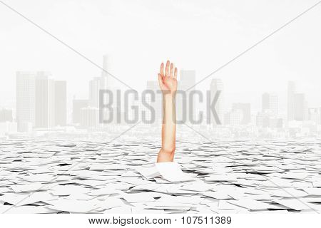 Human Hand Sticks Of Pile Of Paper On The City Background, Bureaucracy Concept