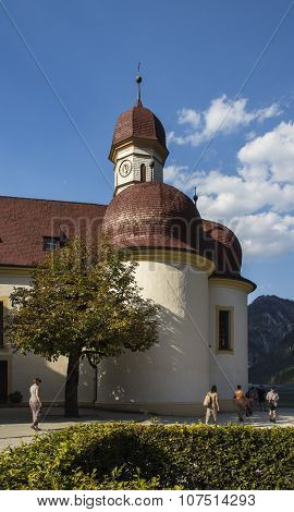 Koenigssee, Germany - August 13, 2015: St. Bartholomew's church a Roman Catholic pilgrimage church in the Berchtesgadener Land named after Saint Bartholomew the Apostle