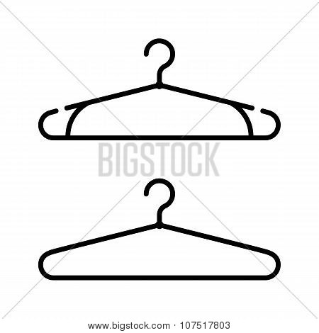 Set of two coat hanger icons. Clothes hanger vector icon