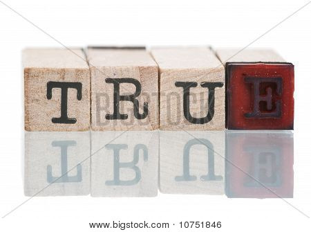True Written With Wooden Blocks