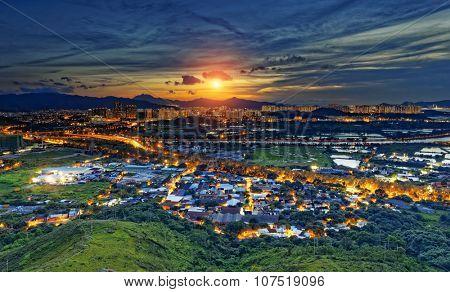 Cityscape of Yuen Long, Hong Kong.
