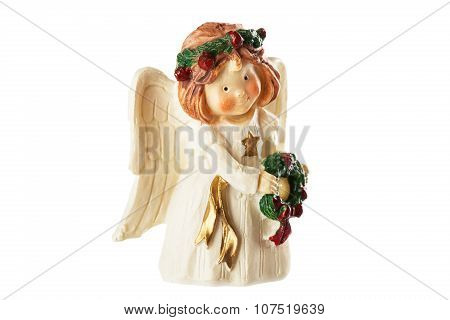 Figure Of A Little Angel With Wreath In Hands, Christmas Decoration