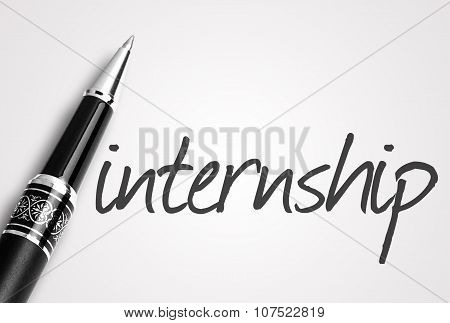 Pen Writes Internship On White Blank Paper