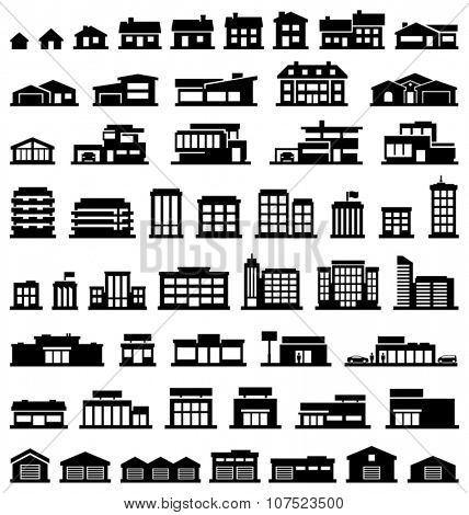 Buildings vector icons set