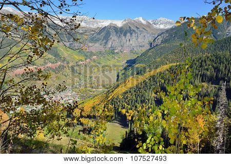 Telluride In The Fall With Yellow Aspen And Snow Covered Mountains