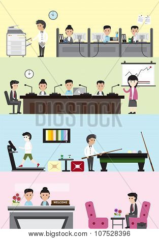 Flat Business Company Building Interior And Layout For Each Department Design Such As Office Employe