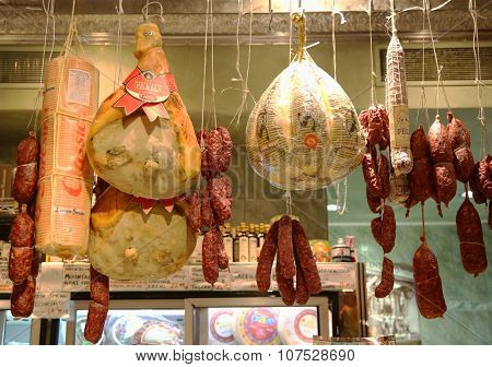 Cured meat, salami and cheeses in Italian store in New York