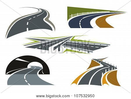 Road, freeway and highway icons set