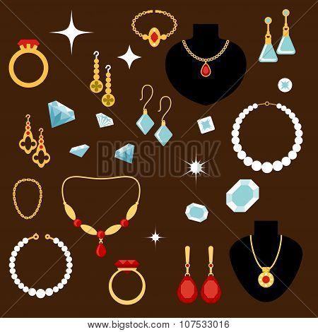 Jewelleries and gemstones flat icons