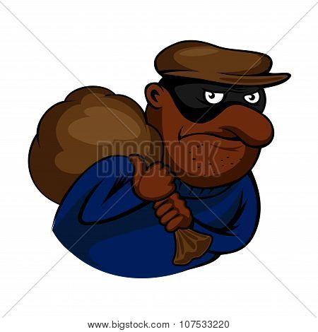 Cartoon african american thief or burglar character in black mask, carries bag over shoulder, for criminal theme design poster