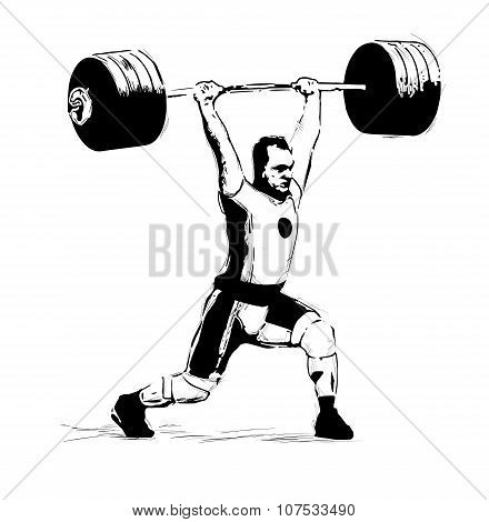 """The vector illustration """"Weightlifter, clean and Jerk"""" poster"""