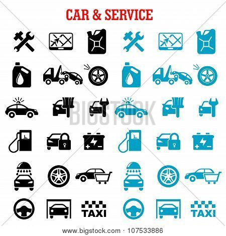 Transportation and car service flat icons