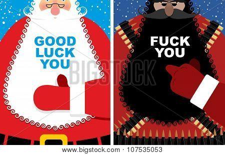 Christmas cards. Good Santa Claus and angry grandfather terrorist with Bandolier. Jolly Santa thumb