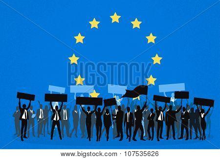 Protest People Crowd Silhouette Over European Union Europe Flag, Man Holding