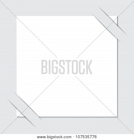 Stock Vector White Paper Cut With Shadow On The Grey Background.