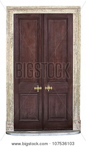 Old Vintage Wooden Door Isolated On White Background