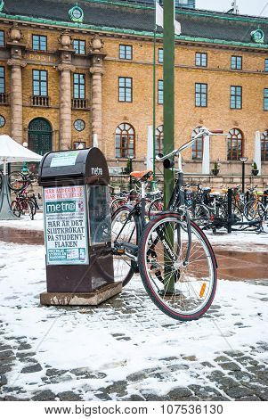 Bicycle Parked At Gothenburg Central Station