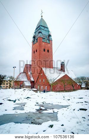 Masthugg Church In Winter, Gothenburg, Sweden, Hdr Photo