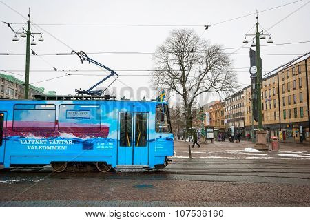 Tram Passing Jarntorget Square In Gothenburg, Sweden