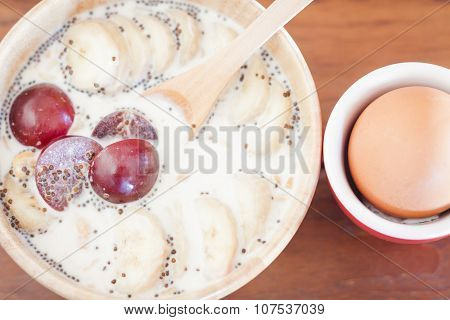 Granola With Fruits And Boiled Egg