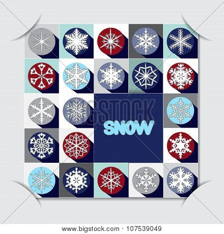 Stock Vector Paper Cut With Christms Pattern. Winter Background.