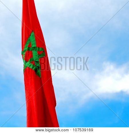 Tunisia  Waving Flag In The Blue Sky  Colour And Battlements  Wave
