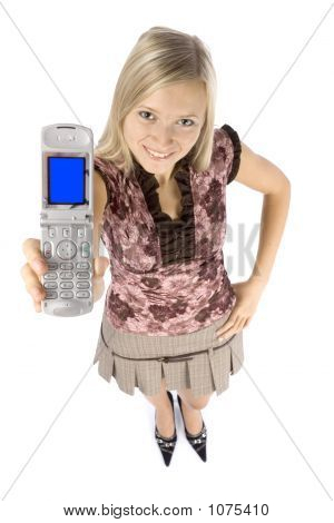 Headshot Of Young Blonde Woman With Mobile Phone