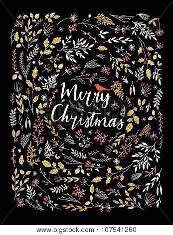 Merry Christmas vector greetings illustration.