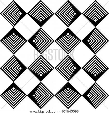 Seamless Grid Pattern. Vector Black and White Background. Regular Texture poster