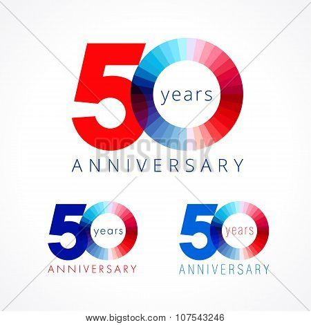 50 anniversary red and blue logo.