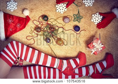 New Year 2016. Christmas, woman legs in stockings