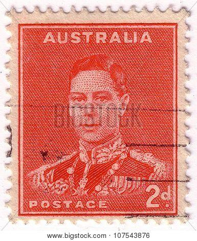 Australia - Circa 1937: A Stamp Printed In Australia Shows King George Vi, Circa 1937