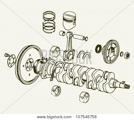 Drawing old engine, Crankshaft assembly. Vector Background