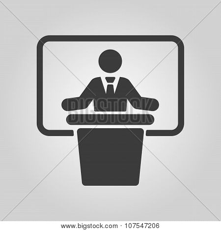 The speech icon. Speak and broadcaster, orator, presentation, conference symbol. Flat Vector illustration poster