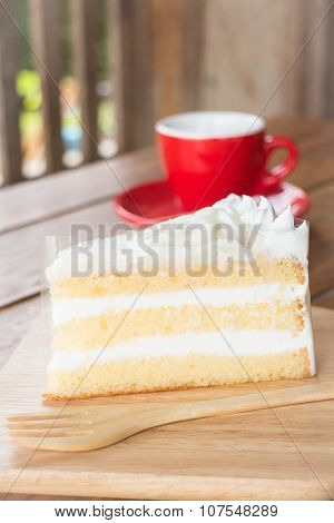 Hot Coffee Cup And Young Coconut Cake