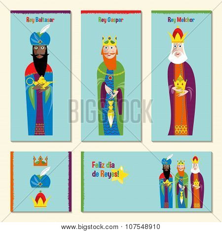 Set Of 5 Universal Spanish Language Christmas Greeting Cards With Three Kings. Three Wise Men. Feliz