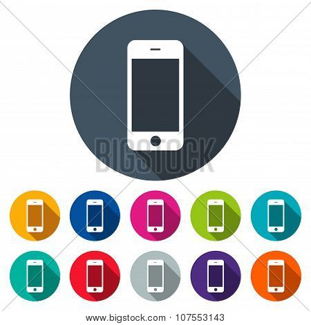 Smartphone Icons Colored Set In The Style Flat Design On The White Background. Stock Vector