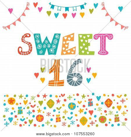 Sweet Sixteen. Invitation Flyer Template Design. Cute Hand Drawn Postcard