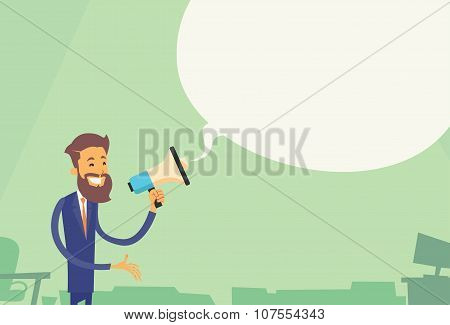 Businessman Hold Megaphone White Chat Bubble Copy Space Business Man Loudspeaker Flat Vector Illustration poster
