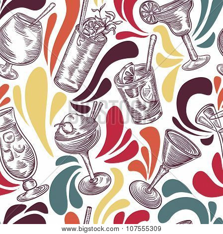 Seamless pattern with vintage cocktails and splashes . Cocktail party. Retro colorful vector illustr