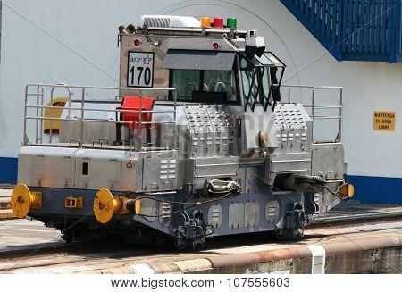 Panama canal locomotive