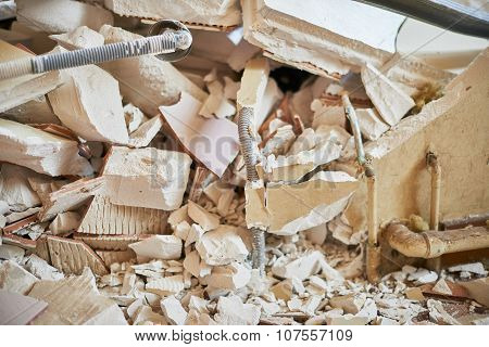 Destroyed home for demolition with equipment and debris poster