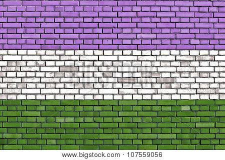 Genderqueer Pride Flag Painted On Brick Wall