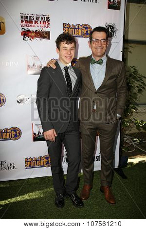 LOS ANGELES - NOV 7:  Nolan Gould, Ty Burrell at the Kids In The Spotlight's Movies By Kids, For Kids Film Awards at the Fox Studios on November 7, 2015 in Century City, CA