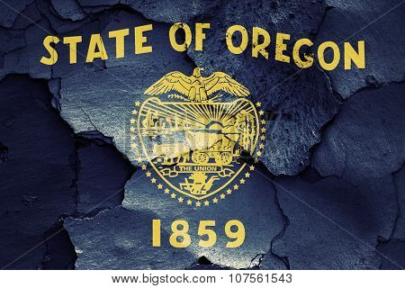 Flag Of Oregon Painted On Cracked Wall