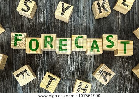 Wooden Blocks with the text: Forecast