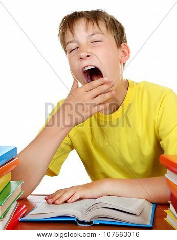 Tired Kid At The School Desk