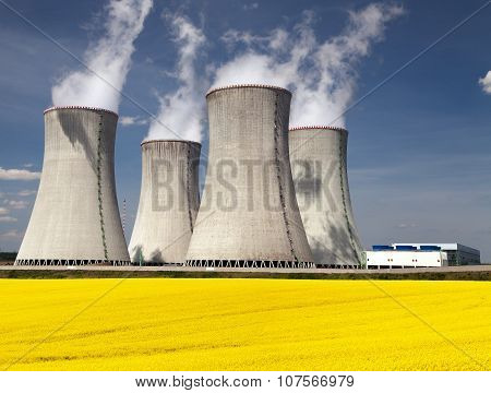 Cooling Tower And Rapeseed Field